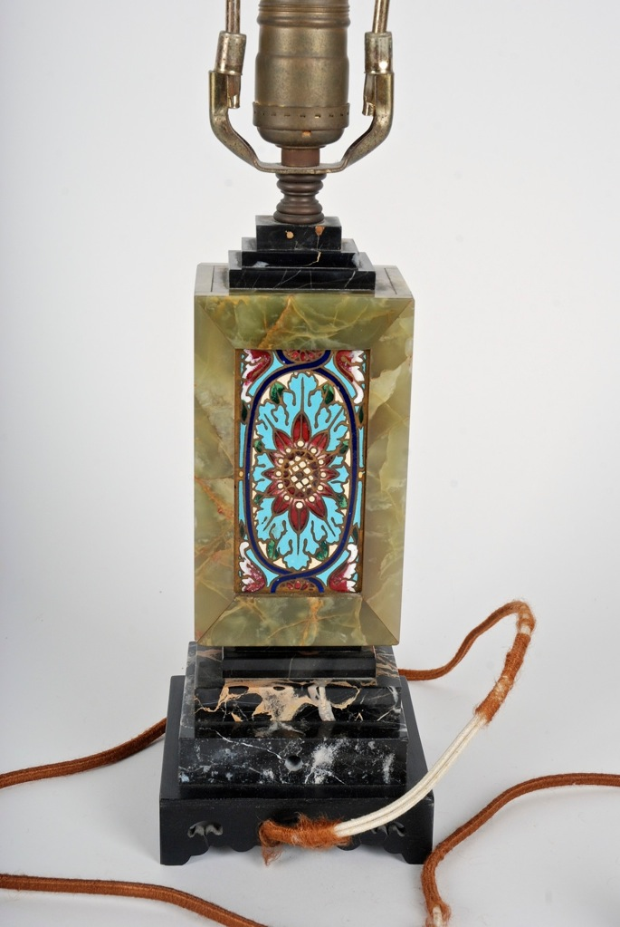 Antique Green Onyx Marble And Cloisonne Table Lamp