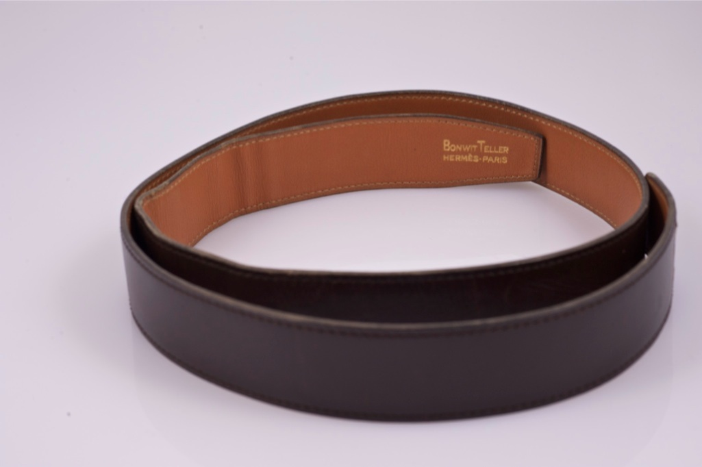 authentic hermes brown leather belt