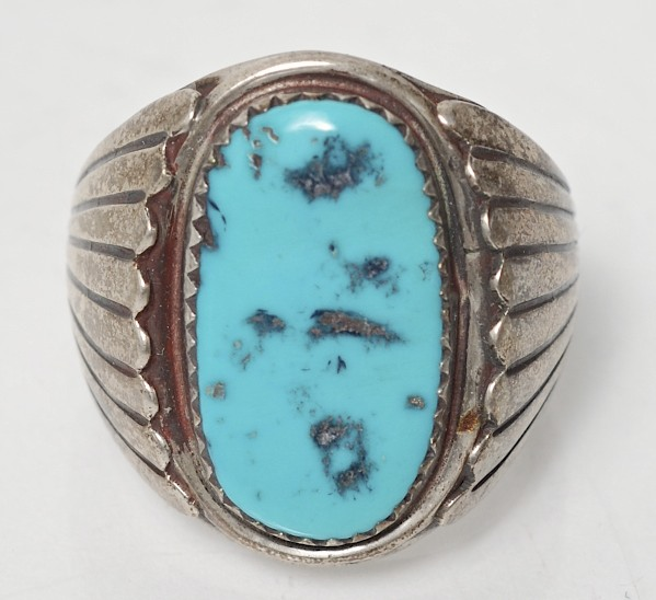heavy s sterling silver and turquoise ring size 11 1 4