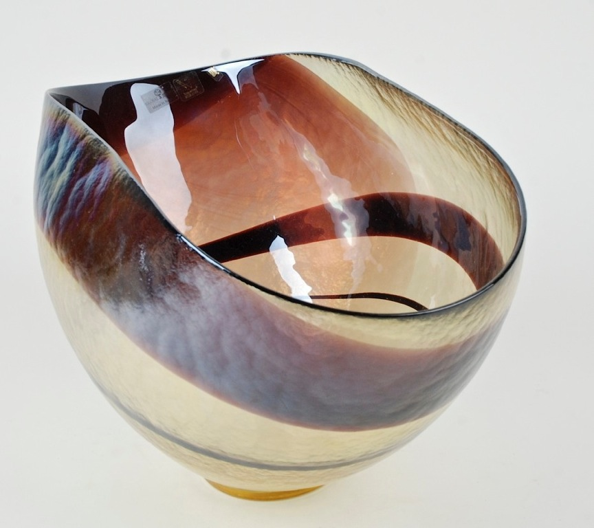 Global Views Glass: LARGE IRIDESCENT DEEP PINCH FORM MURANO ART GLASS BOWL FOR