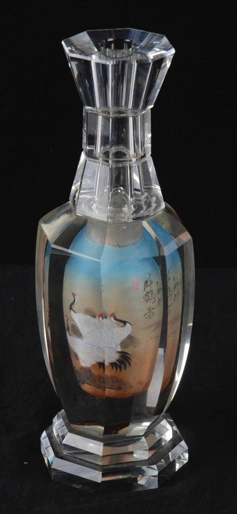 Vintage Chinese Octagonal Inside Painted Crystal Vase W Cranes Ebay