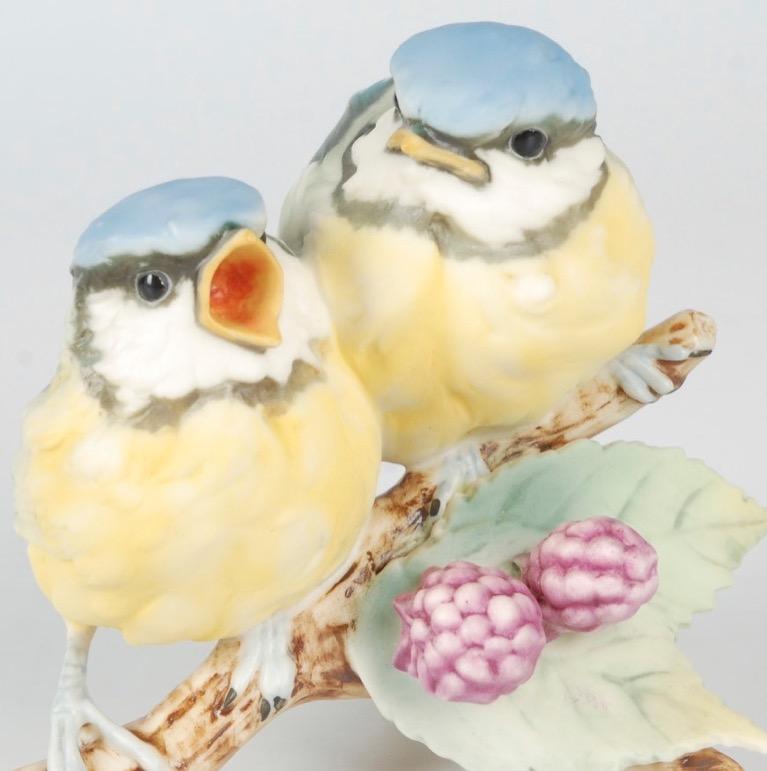 Vintage kaiser porcelain figurine pr of chickadees on a raspberry branch signed ebay - Chickadee figurine ...